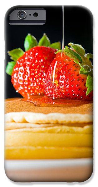 Strawberry Butter Pancake With Honey Maple Sirup Flowing Down IPhone Case by Ulrich Schade