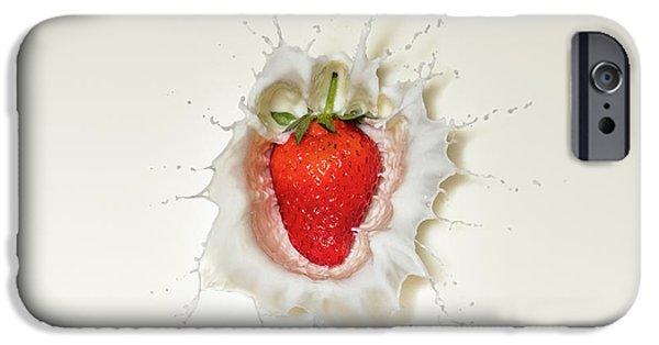 Fruits iPhone 6s Case - Strawberry Splash In Milk by Johan Swanepoel