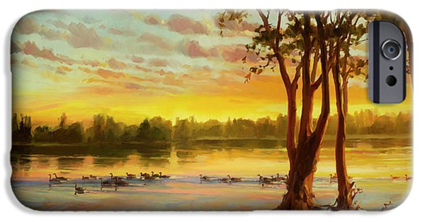 Geese iPhone 6s Case - Sunrise On The Columbia by Steve Henderson