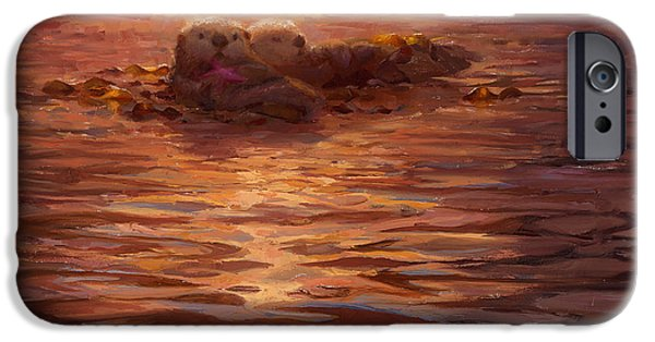 Otter iPhone 6s Case - Sunset Snuggle - Sea Otters Floating With Kelp At Dusk by Karen Whitworth