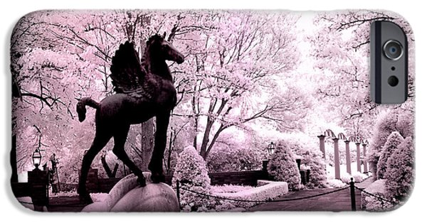 Pegasus iPhone 6s Case - Surreal Infared Pink Black Sculpture Horse Pegasus Winged Horse Architectural Garden by Kathy Fornal
