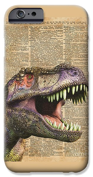 T-rex,tyrannosaurus,dinosaur Vintage Dictionary Art IPhone 6s Case by Jacob Kuch