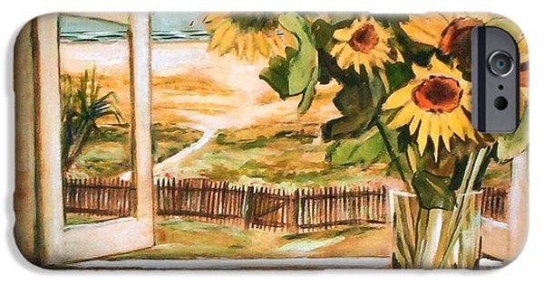 IPhone 6s Case featuring the painting The Beach Sunflowers by Winsome Gunning