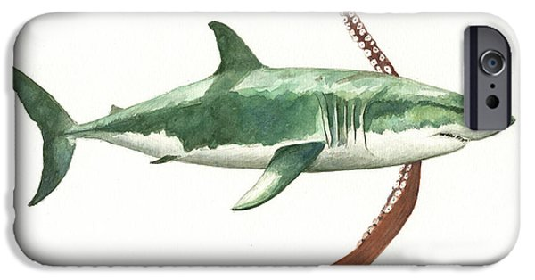 Sharks iPhone 6s Case - The Great White Shark And The Octopus by Juan Bosco