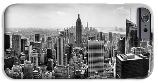 City Scenes iPhone 6s Case - New York City Skyline Bw by Az Jackson