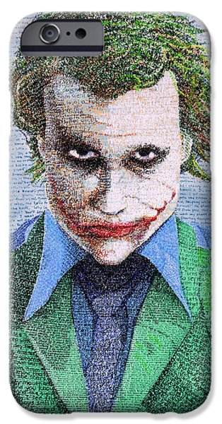 Heath Ledger iPhone 6s Case - The Joker In His Own Words by Phil Vance