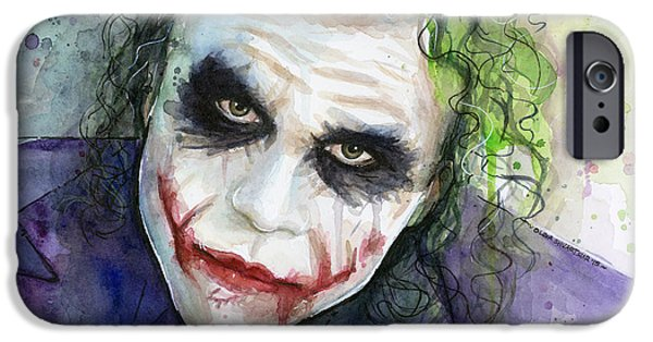 Heath Ledger iPhone 6s Case - The Joker Watercolor by Olga Shvartsur