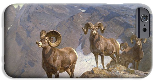 Rocky Mountain Bighorn Sheep iPhone 6s Case - The Mountaineers-big Horn Sheep On Wilcox Pass by Rungius Carl