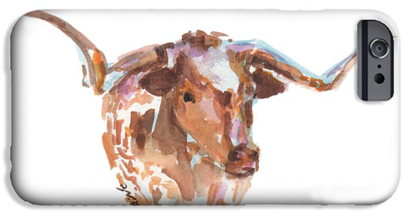 Cow iPhone 6s Case - The Original Longhorn Standing Earth Quack Watercolor Painting By Kmcelwaine by Kathleen McElwaine