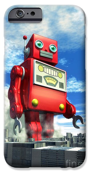 Aliens iPhone 6s Case - The Red Tin Robot And The City by Luca Oleastri