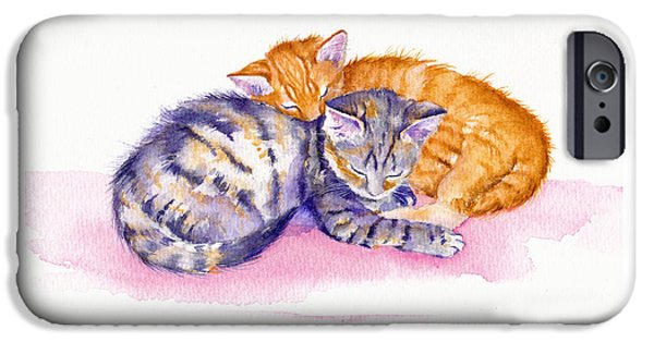 Cat iPhone 6s Case - The Sleepy Kittens by Debra Hall