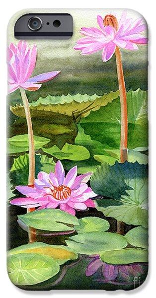 Lily iPhone 6s Case - Three Pink Water Lilies With Pads by Sharon Freeman
