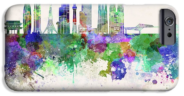 Tokyo V3 Skyline In Watercolor Background IPhone 6s Case by Pablo Romero
