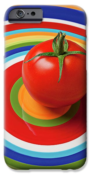 Vegetables iPhone 6s Case - Tomato On Plate With Circles by Garry Gay