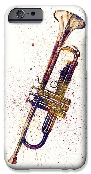 Trumpet iPhone 6s Case - Trumpet Abstract Watercolor by Michael Tompsett
