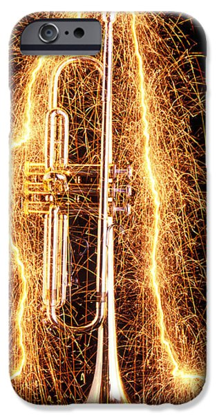 Music iPhone 6s Case - Trumpet Outlined With Sparks by Garry Gay