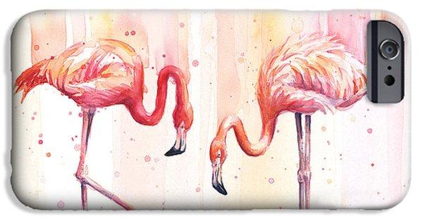 Flamingo iPhone 6s Case - Two Flamingos Watercolor by Olga Shvartsur