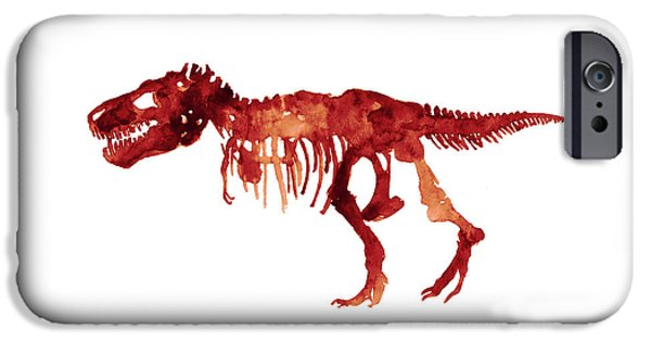 Tyrannosaurus Rex Skeleton Poster, T Rex Watercolor Painting, Red Orange Animal World Art Print IPhone 6s Case by Joanna Szmerdt