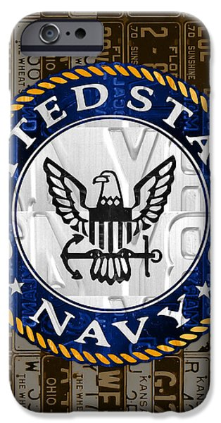 United States Navy Logo Recycled Vintage License Plate Art IPhone Case by Design Turnpike