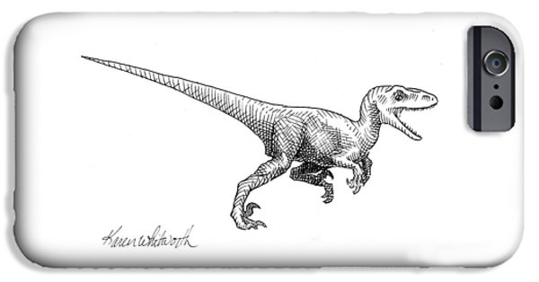 Velociraptor - Dinosaur Black And White Ink Drawing IPhone 6s Case by Karen Whitworth