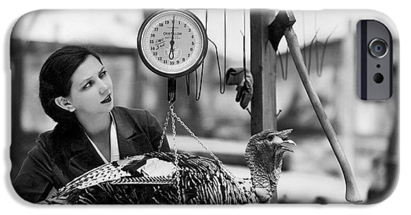 Vintage Holiday Card   Woman Weighing A Turkey Ahead Of The Holidays IPhone 6s Case by American School
