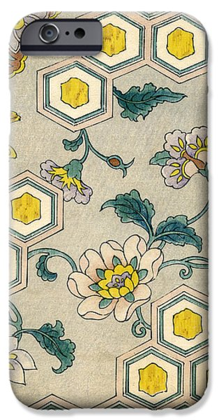 Flowers iPhone 6s Case - Vintage Japanese Illustration Of Blossoms On A Honeycomb Background by Japanese School