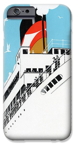 Cruise Ship iPhone 6s Case - Vintage Travel Poster A Cruise Ship With Passengers, 1928 by American School