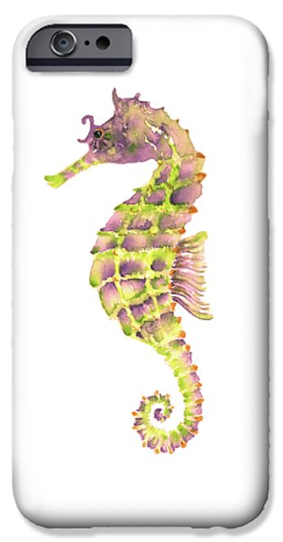 Violet Green Seahorse - Square IPhone 6s Case by Amy Kirkpatrick