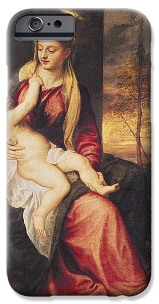 Virgin With Child At Sunset IPhone Case by Titian