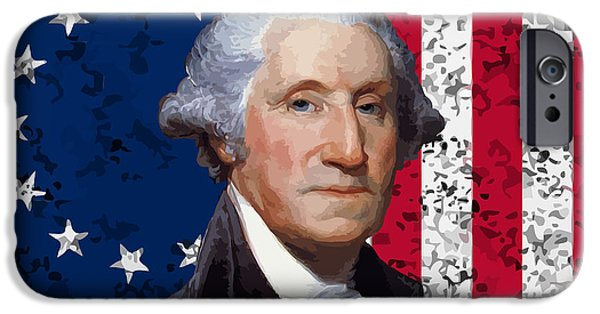 George Washington iPhone 6s Case - Washington And The American Flag by War Is Hell Store