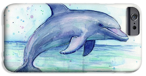 Dolphin iPhone 6s Case - Watercolor Dolphin Painting - Facing Right by Olga Shvartsur