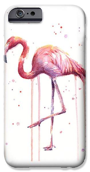 Flamingo iPhone 6s Case - Watercolor Flamingo by Olga Shvartsur