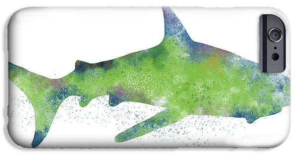 Swimming iPhone 6s Case -  Watercolor Shark 2-art By Linda Woods by Linda Woods