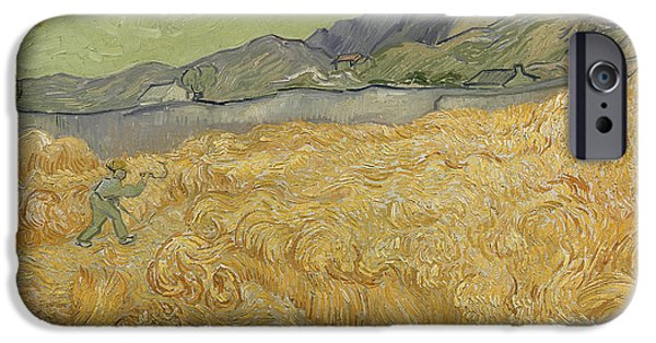 Wheatfield With Reaper IPhone Case by Vincent Van Gogh