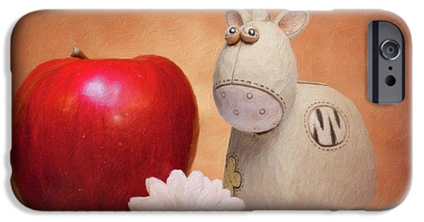 Daisy iPhone 6s Case - White Horse With Apple by Tom Mc Nemar