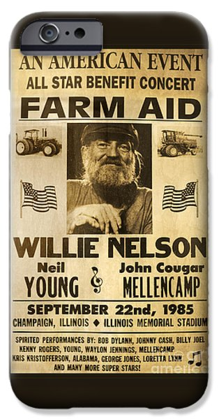Willie Nelson Neil Young 1985 Farm Aid Poster IPhone 6s Case by John Stephens