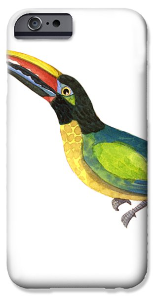 Toucan iPhone 6s Case - Winged Jewels 2, Watercolor Toucan Rainforest Birds by Audrey Jeanne Roberts