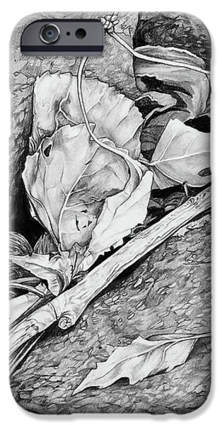IPhone 6s Case featuring the drawing Withered Leaves by Aaron Spong