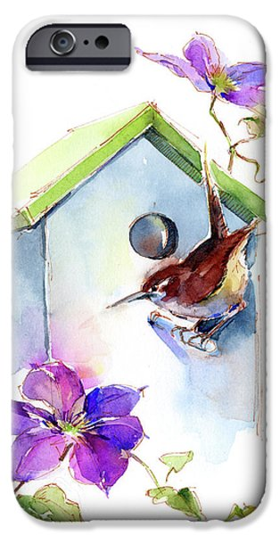 Wren With Birdhouse And Clematis IPhone 6s Case