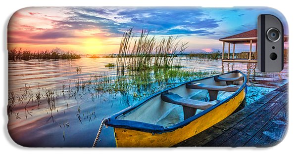 Yellow Canoe IPhone Case by Debra and Dave Vanderlaan