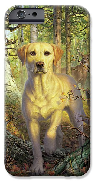 Woodpecker iPhone 6s Case - Yellow Lab In Fall by Mark Fredrickson