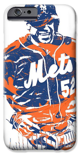 New York Mets iPhone 6s Case - Yoenis Cespedes New York Mets Pixel Art 3 by Joe Hamilton