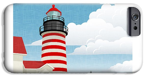 New England Coast iPhone 6s Case - Retro Style Travel Poster Or Sticker by Teddyandmia