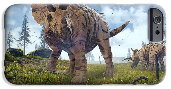 Digital Image iPhone 6s Case - 3d Rendering Of Triceratops Horridus In by Herschel Hoffmeyer