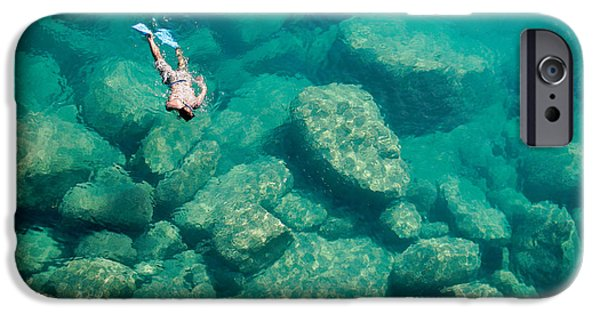 Scuba Diver iPhone 6s Case - A Snorkeler Explores The Scenic Rock by Saphotog