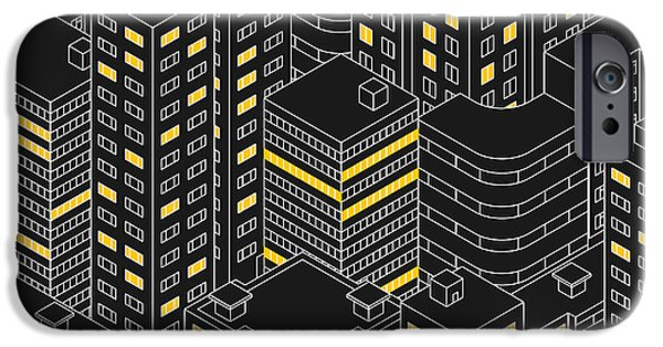 Office Buildings iPhone 6s Case - Abstract Black Seamless Pattern by Svetlana Avv