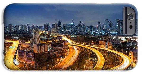 Office Buildings iPhone 6s Case - Bangkok Cityscape. Bangkok Night View by Weerasak Saeku