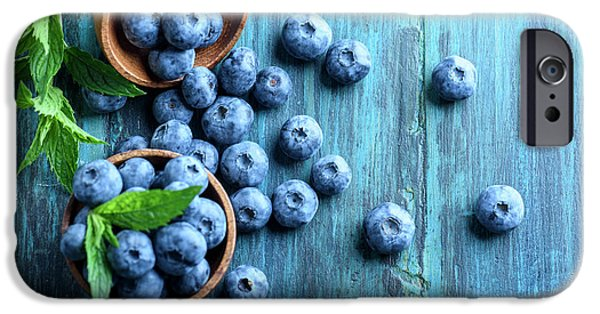 Blue Berry iPhone 6s Case - Bowl Of Fresh Blueberries On Blue Rustic Wooden Table From Above by Jelena Jovanovic