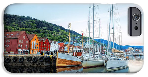 Sailboat iPhone 6s Case - Bryggen Street With Boats In Bergen by Samot