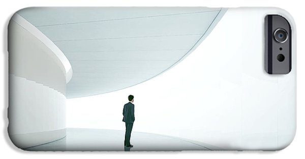 Office Buildings iPhone 6s Case - Businessman In Front Of Wide White by Sfio Cracho